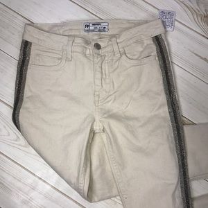 Free People Ivory Beaded Distressed Skinny Jeans
